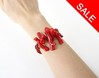 Red Coral Statement Bracelet, Bold and Chunky Red Fashion Jewelry - ON SALE (WAS 35)