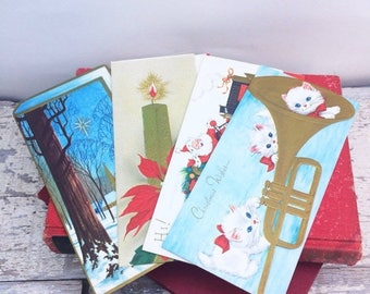SUMMER SALE Set of 14 Unused Vintage Christmas Cards and Envelopes 1960's