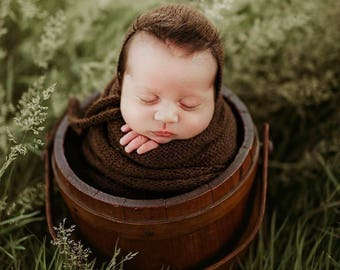 NEW Extra long Knit alpaca wrap and knitted ties classic bonnet Newborn photo prop preorder 59 colours knit ties baby bonnet