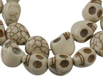 Skull Beads White Skull Beads Ivory Skull Beads Halloween Beads Turquoise Skull Beads 12mm Beads 12mm Skull Beads 32 pieces