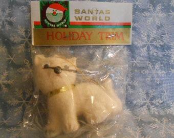 Vintage Flocked White Kitty Cat Ornament-Still In Bag - Santas World Holiday Trim - Kurt Adler
