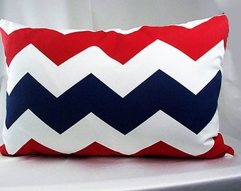 Red and  navy blue chevron lumbar pillow cover, Pillow cover rectangle, 16 x 24 pillows, Zigzag pillow case long, Outdoor pillow covers