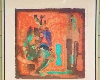 ON SALE C.1990 Byron Galvez Acrylograph Uno Paso