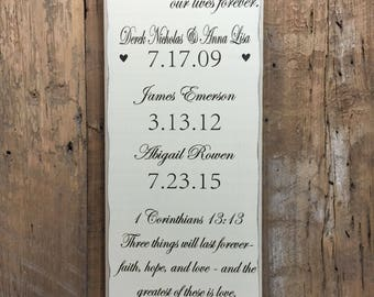 The Dates That Blessed Our Lives, Important Date Sign, Family Date Sign, Our Love Story Sign, Special Date Sign, 5th Anniversary Gift