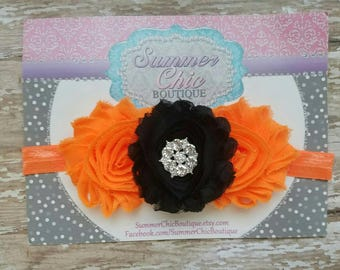 Black and Orange Halloween Headband, Baby Headband, Infant Headband, Newborn Headband, Baby Headband, Orange and Black on skinny elastic