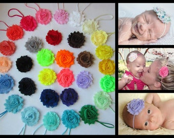 YOU PICK 4 Baby Headband, Infant Headband, Toddler Headband, Girls Headband - Shabby Chic Headband Set