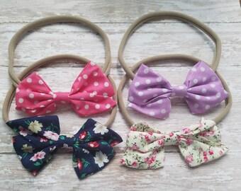 Baby Headband, Nylon Headbands, Nylon Bow Headbands, Bow Headbands Infant Headband, Toddler Headband, Bow tie Headbands, Baby Headband Set