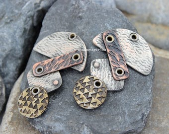 2 pcs  pendant mixed metal copper silver and brass patinated hammered tribal boho jewelry supplies nbr9