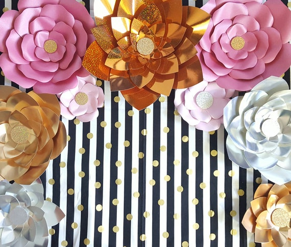 Gold Silver Pink Giant Paper Flowers, Large Paper Flowers