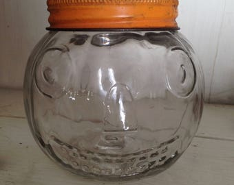 Vintage Halloween Antique Glass Jack O Lantern Candy Container Pumpkin Early 1900s Old Collectible Fall Autumn Thanksgiving Decor Display