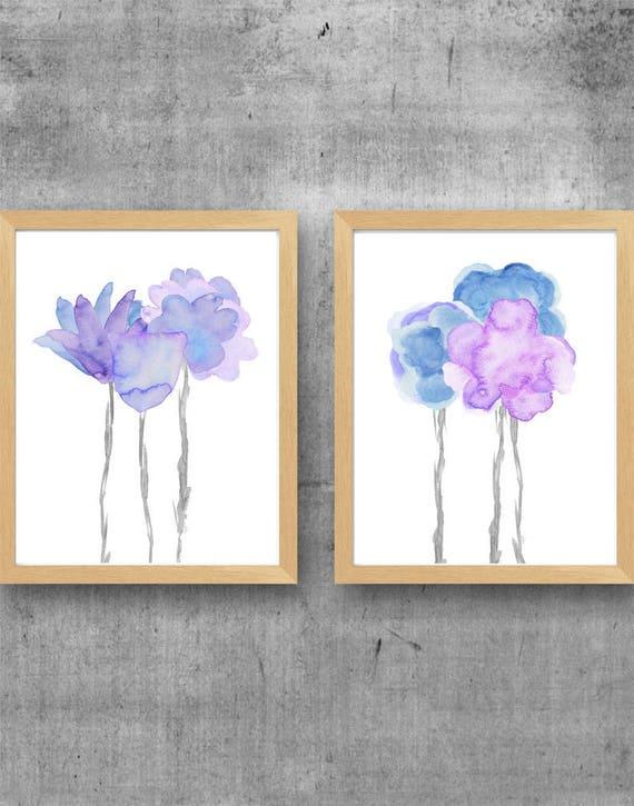 Lavender and Pale Blue Flower Prints Set of 2, Floral Watercolors