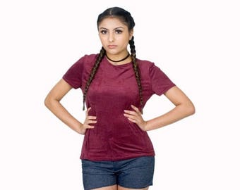 50% OFF Burgundy Suede T-Shirt Textured Tops Short Sleeves ON Sale