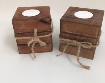 Rustic wooden tealight candle holder set, farmhouse rustic decor, alder candle holders