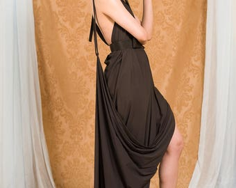 Chocolate Brown Backless Maxi Evening Dress