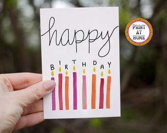 PRINT AT HOME Watercolor Birthday Greeting Card, happy birthday, birthday for her, gift for her, candles, painted card, minimalist card