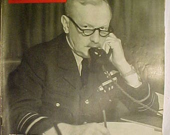 April 10, 1944 LIFE Magazine with Air Chief Marshal Arthur T. Harris on the Cover has 124 pages of ads and articles, Birthday Gift Idea