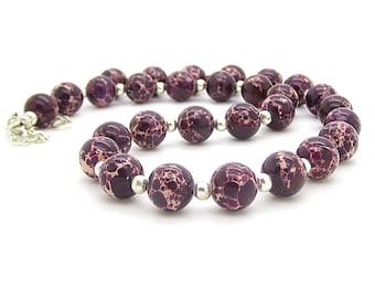 Purple Jasper Gemstone Necklace, Natural Stone Jewellery, Purple Gemstone Jewellery, Large Bead Necklace, Jasper Stone, Semi Precious