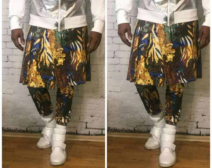 Printed Multi  Pleated Kilted Jogger Pants in Printed  Jersey.