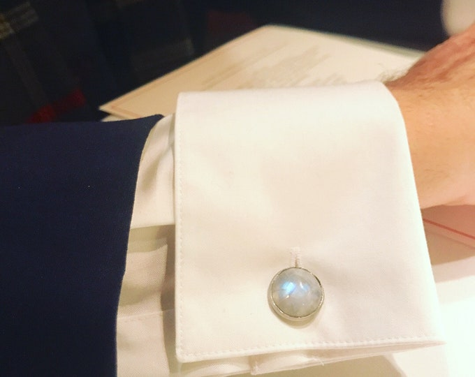 Rainbow Moonstone Cufflinks-- Moonstone Cufflinks--Cancer Birthstone