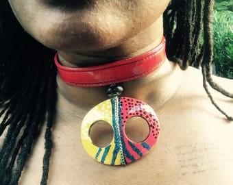Afrikan Face/Mask Pendant Choker Necklace