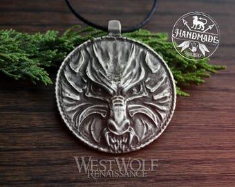 Silver Wolf Medallion Pendant / Talisman -- Slavic/Viking/Norse/Skyrim/Werewolf/Fenrir/Amulet