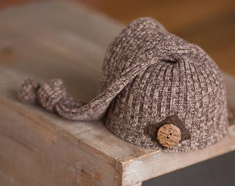 Newborn Boy Hat, Newborn Photo Prop, Brown Hat with Button, Newborn Knot Hat, Upcycled Sleepy Time Hat, Newborn Props, Newborn Hats, Boy Hat