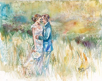 Wedding Gift, Watercolor Painting: 35% Deposit for Custom Wedding Painting Reserved for Donna by Kristin van Lieshout