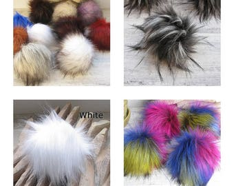 Faux  Fur Pom Poms   Long fur. Large Detachable pom pom  pompon fourrure Made in Poland Choose your Color