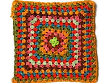 Vintage Granny Square Pillow Cover Sham Crochet 70s Retro Multi Acrylic Yarn Handmade Hippie Boho Decor