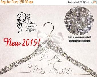 SUMMER SALE Bling Wedding Dress Hanger, Personalized Disney Wedding Carriage Bridal Hanger, Wire Name Hanger, Crystal Rhinestone Valentine G