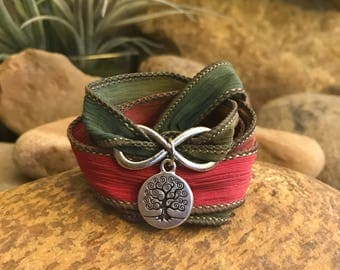 Tree infinity wrap bracelet with silk ribbon and charms. Great gift for yoga enthusiasts