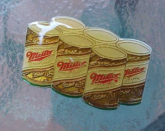 1970s 1980s MILLER HIGH LIFE Original Enamel Hat Pin Six Pack of Cans Novelty Beer Memorabilia Scarce Retro Collectible