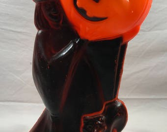 Vintage General Foam Halloween Blow Mold - Witch with Cat Holding Pumpkin - EXCELLENT Condition