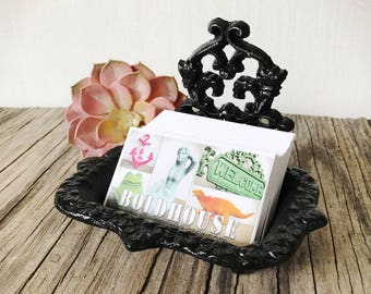 BOLD black business CARD HOLDER soap dish // ornate floral // bathroom office // victorian rustic shabby chic home decor // french country