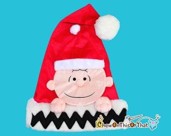 Peanut Comics Charlie Brown Christmas Santa Hat, Personalized Red Christmas Elf Hat for Christmas, Peanuts Movie, Charles M Schultz Comics