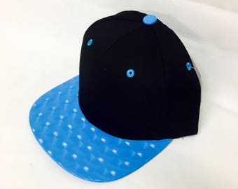 Custom Black and Electric Blue Snapback Hat Flat Bill Cap Geometric With 3D Hologram Squares