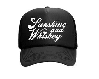 Sunshine and Whiskey Vinyl Black Foam Trucker Mesh Back Hat Snapback