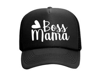 Boss Mama Custom Vinyl Black Foam Trucker Mesh Back Hat Snapback