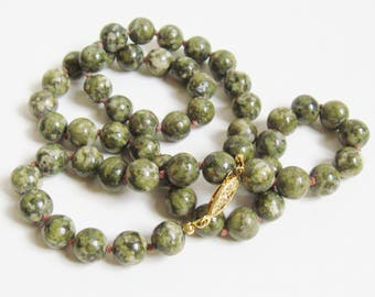 "MID Century Vintage 1960s Olive Green Mottle SPINACH JADE Bead 24"" Necklace Hand Knot Silk Gold Filigree Clasp Nouveau Fashion Jewelry"