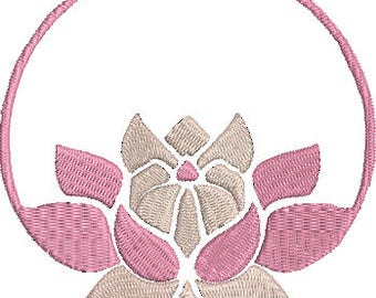 Lotus Monogram Digitized Machine Embroidery Design Flower