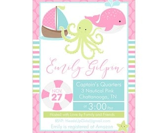 Digital Printable Baby Shower or Birthday Invitation with Nautical Whale and Sail Boat in Pink, Aqua and Lime Green CPP003