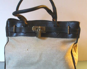 Made in Italy Leather & Fabric Hand Bag