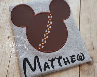 Chewbacca Chewie Mouse Custom embroidered Disney Inspired Vacation Shirts for the Family! 24c