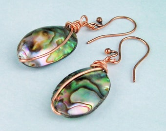 Dangle Earrings, Paua Shell Puffs, Abalone Shell, Mother of Pearl, Copper Wire, Copper Ear Wires, Soft Pink, Green, Turquoise, Beach Jewelry