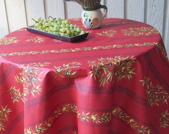 "60""Round Tablecloth, oilcloth. Stain resistant cotton coated.Fabric from Provence,France.Gift for her. Olives in ""red"""