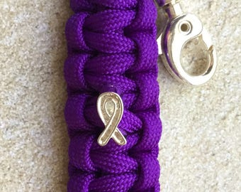 Purple Cancer Awareness Keychain