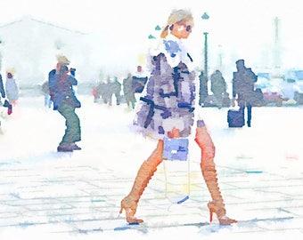 Paris Fashion Week, DIGITAL ART PRINT Vogue Street Style Print from Watercolor Painting