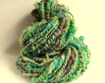 Handspun yarn, art yarn, green and turquoise, textured wool, chunky alpaca, silk, merino and wensleydale yarn, dolls hair
