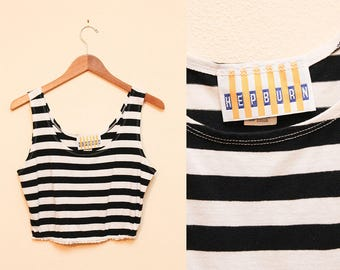 Striped Crop Top // Black and White Tank Top // 80s Upcycled Cropped Scoop Neck Sleeveless Shirt Size Medium