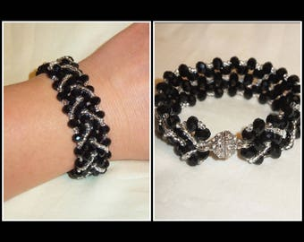 Black Crystal Bracelet, Silver Black Bracelet, Black Jewelry, Wedding Jewelry, Mother of the Bride Gift, Bridesmaids Jewelry, Birthday Gifts